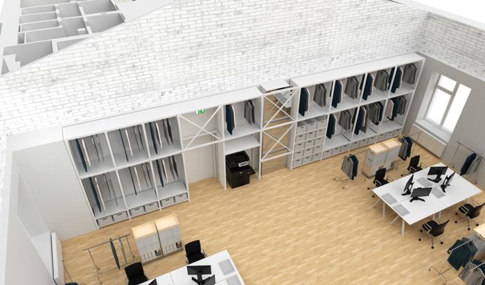 Neuheiten Konzept Architekten Rinnebach Regal Creative Department 10 Felder 3,5m