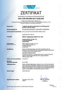 Zertifikat über die Konformität der werkseigenen Produktionskontrolle
